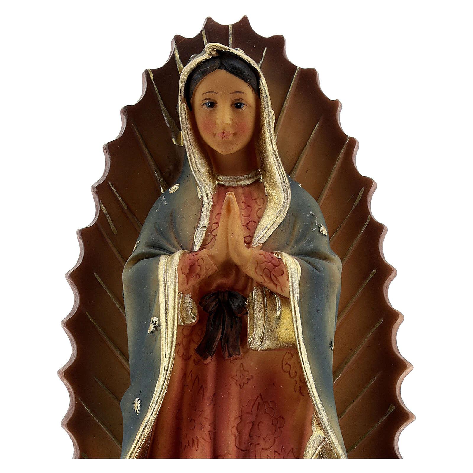 Notre-Dame de Guadalupe base baroque statue résine 23 cm 4