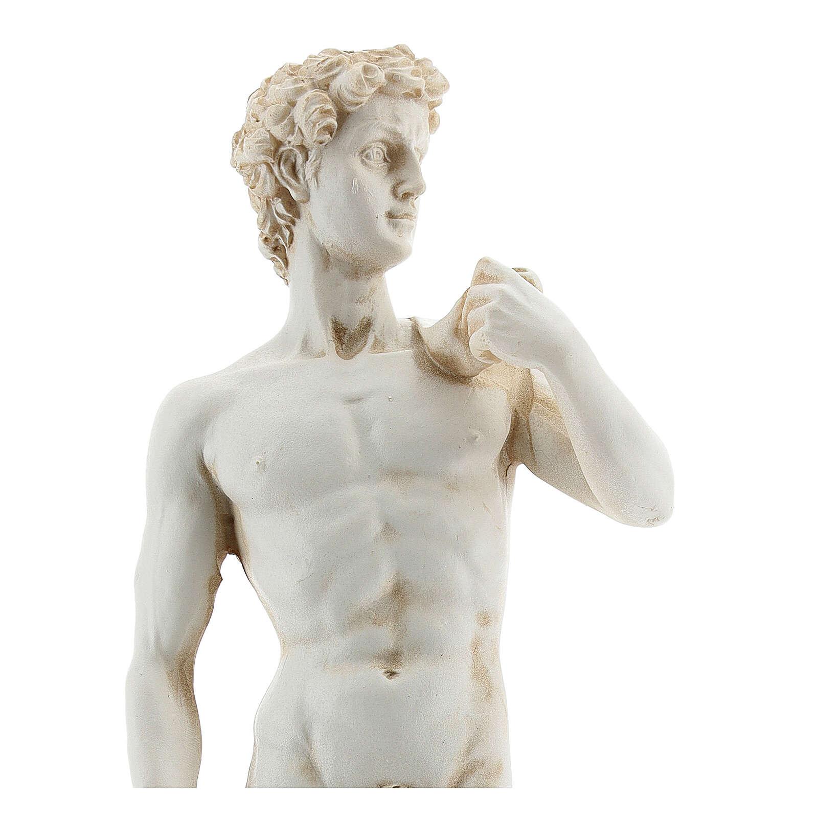 Statua David Michelangelo color marmo 21 cm resina 4