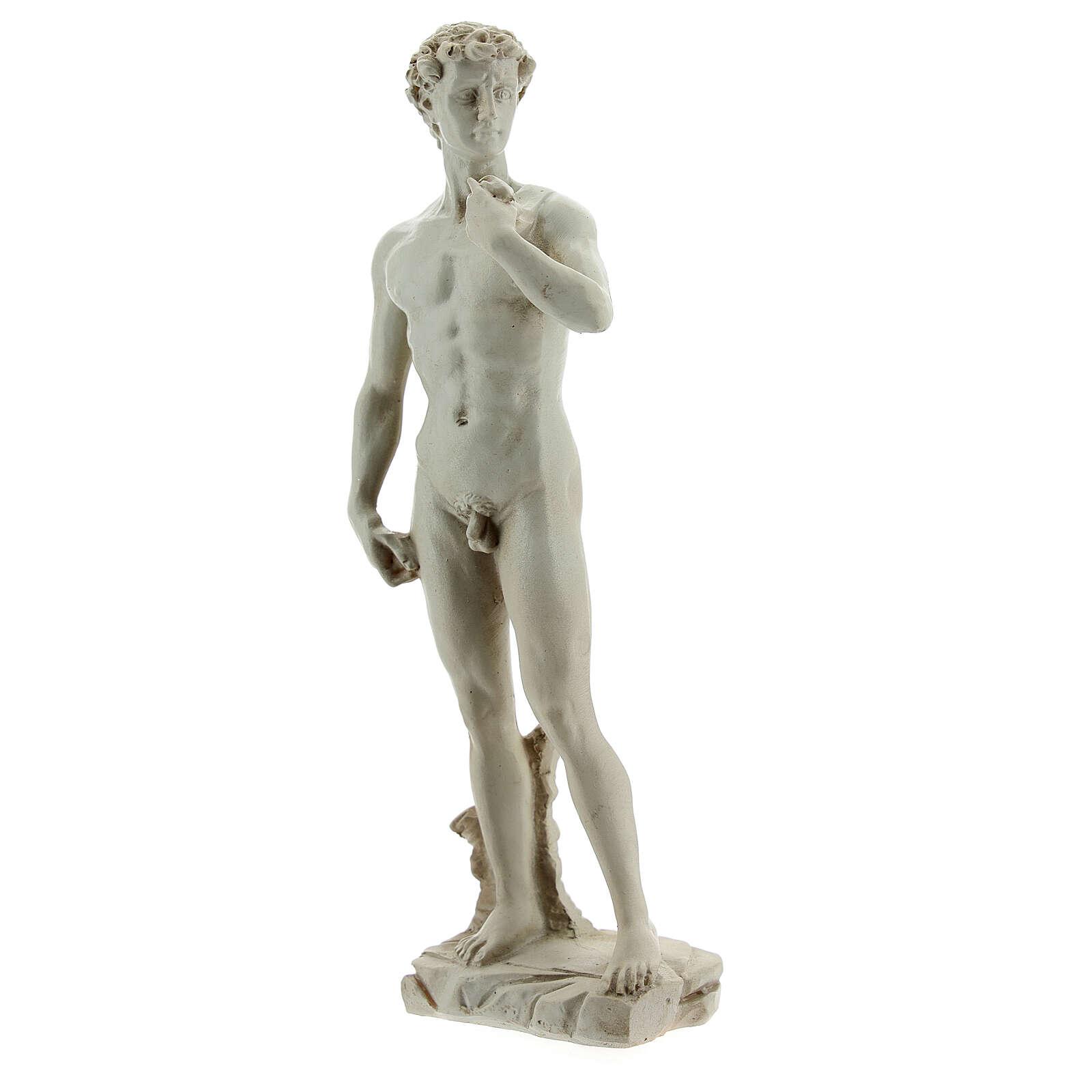 David a la manera de Miguel Ángel Buonarroti estatua resina 13 cm efecto mármol 4