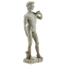 David a la manera de Miguel Ángel Buonarroti estatua resina 13 cm efecto mármol s3