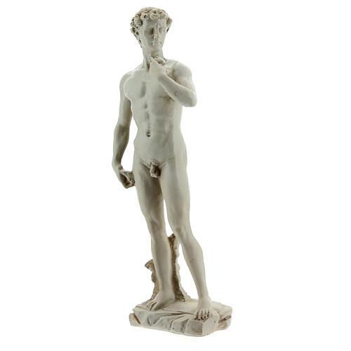 David a la manera de Miguel Ángel Buonarroti estatua resina 13 cm efecto mármol 2