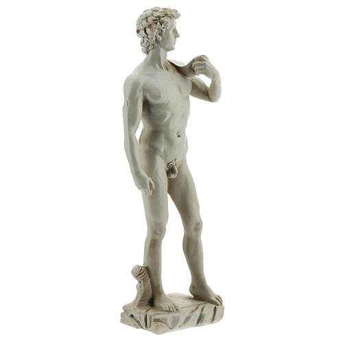 David a la manera de Miguel Ángel Buonarroti estatua resina 13 cm efecto mármol 3