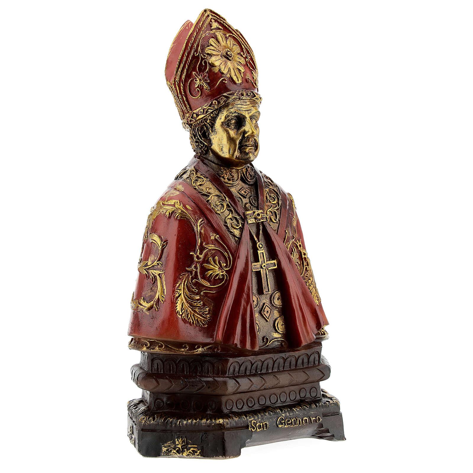 St. Januarius bust resin golden details 14 cm 4