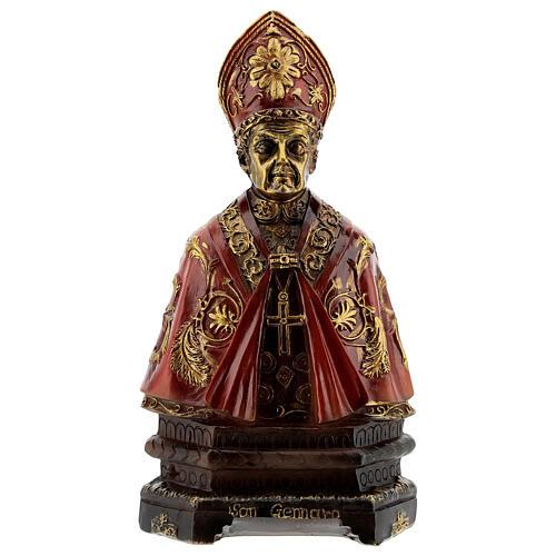 Buste Saint Janvier de Bénévent résine détails or 14 cm 1