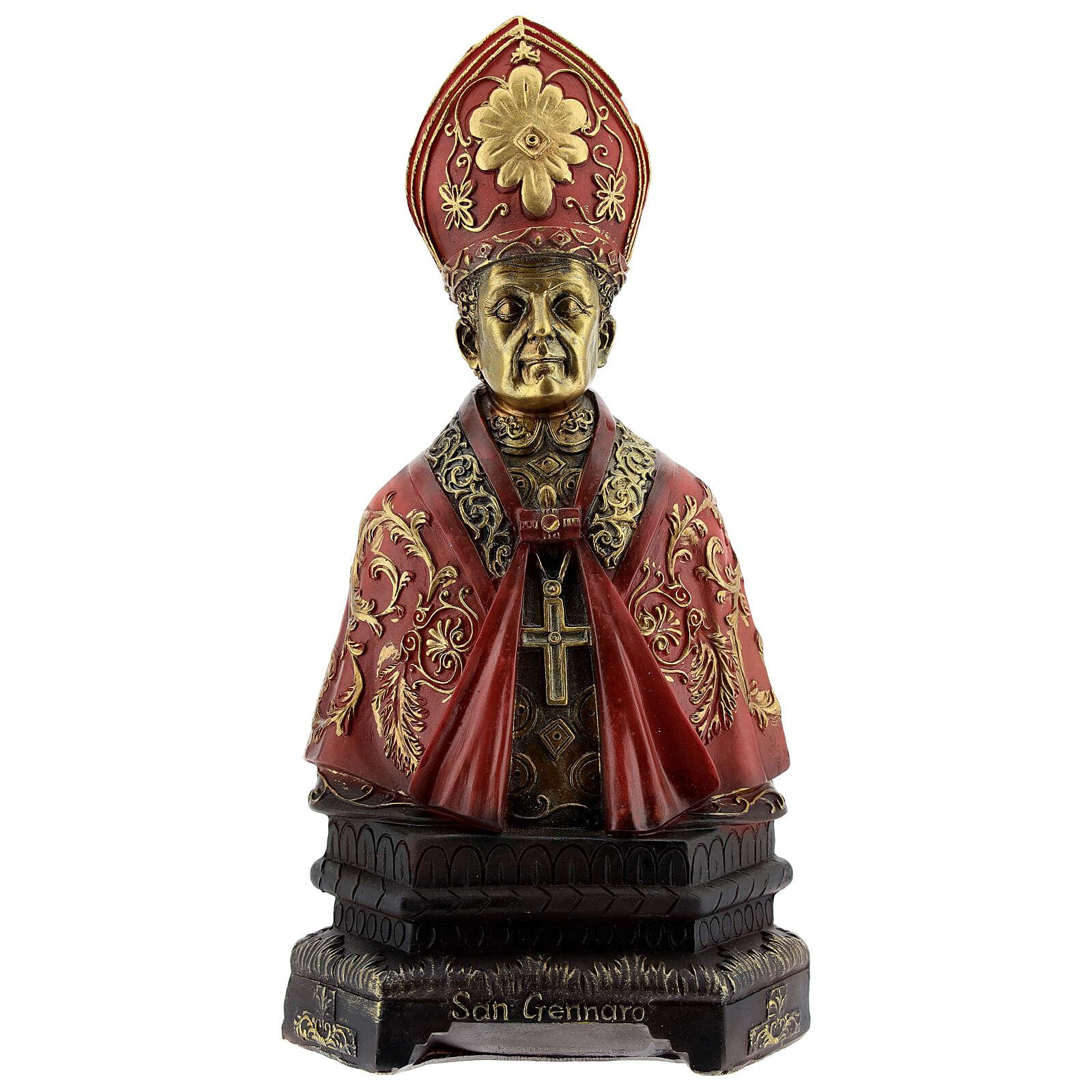 Saint Janvier décorations or buste résine 20x10,5 cm 4