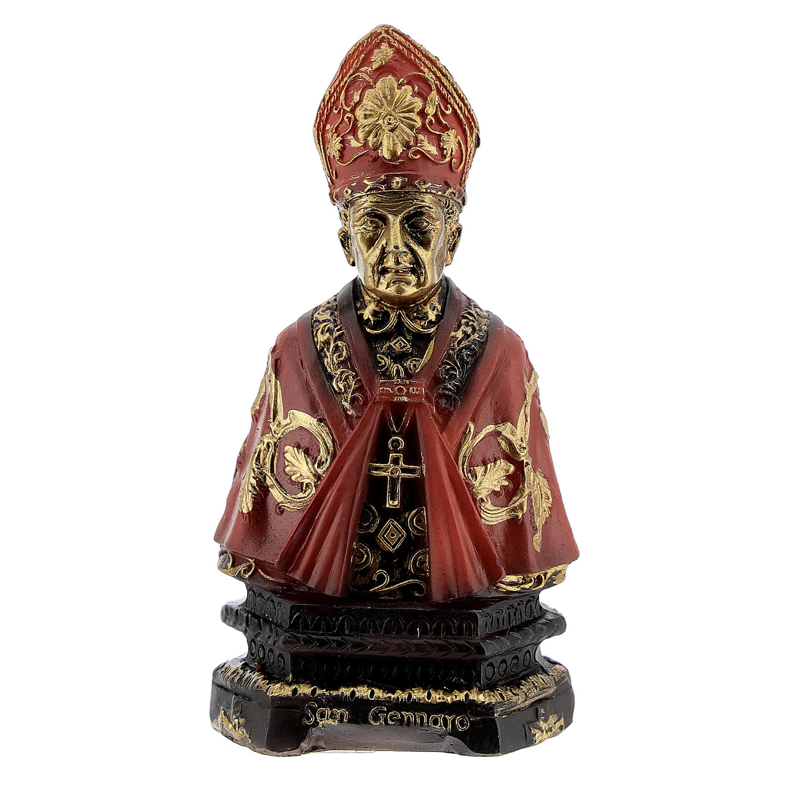 Bust of St Januarius with resin and name on base 8 cm 4