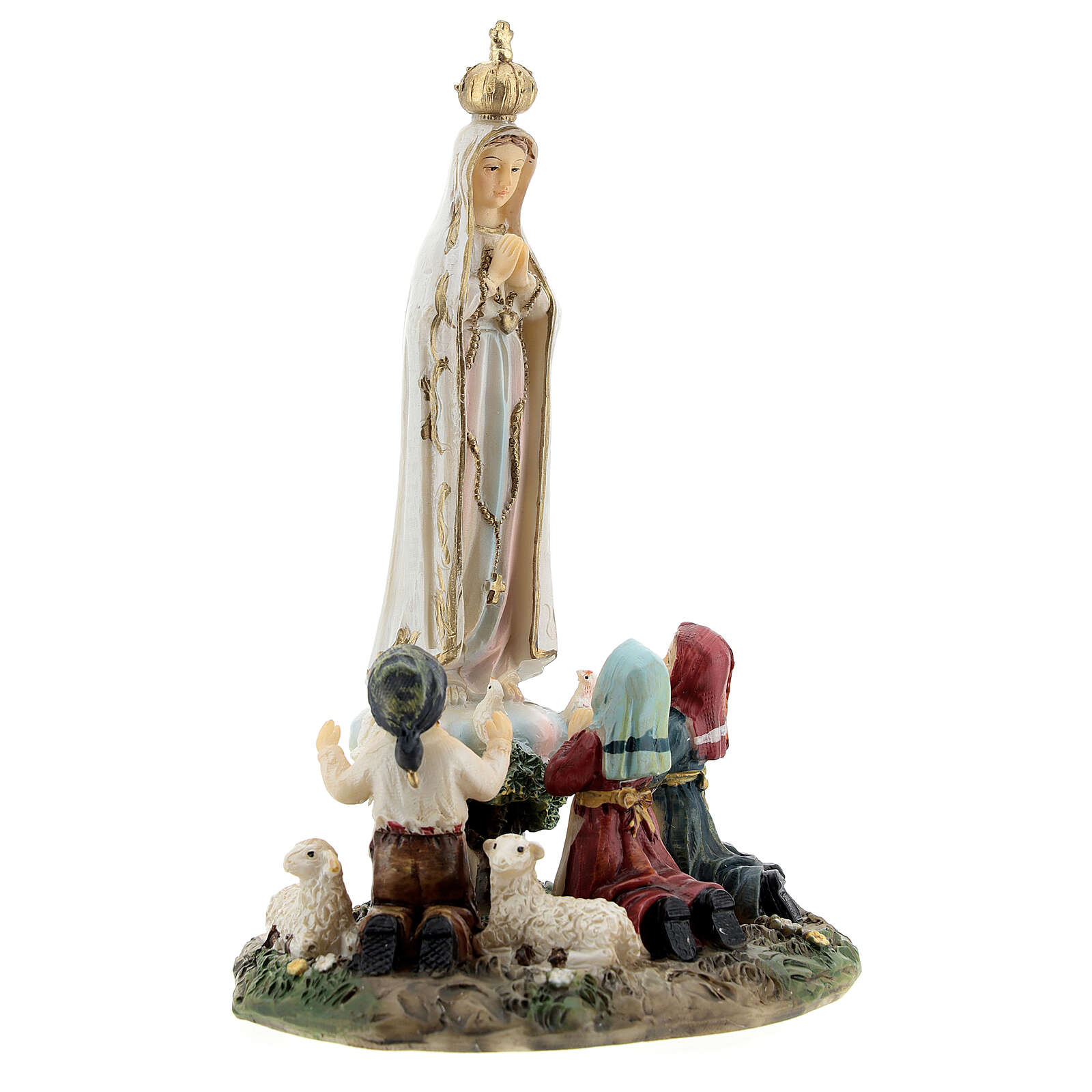 Madonna Fatima bambini agnelli statua resina 14 cm 4