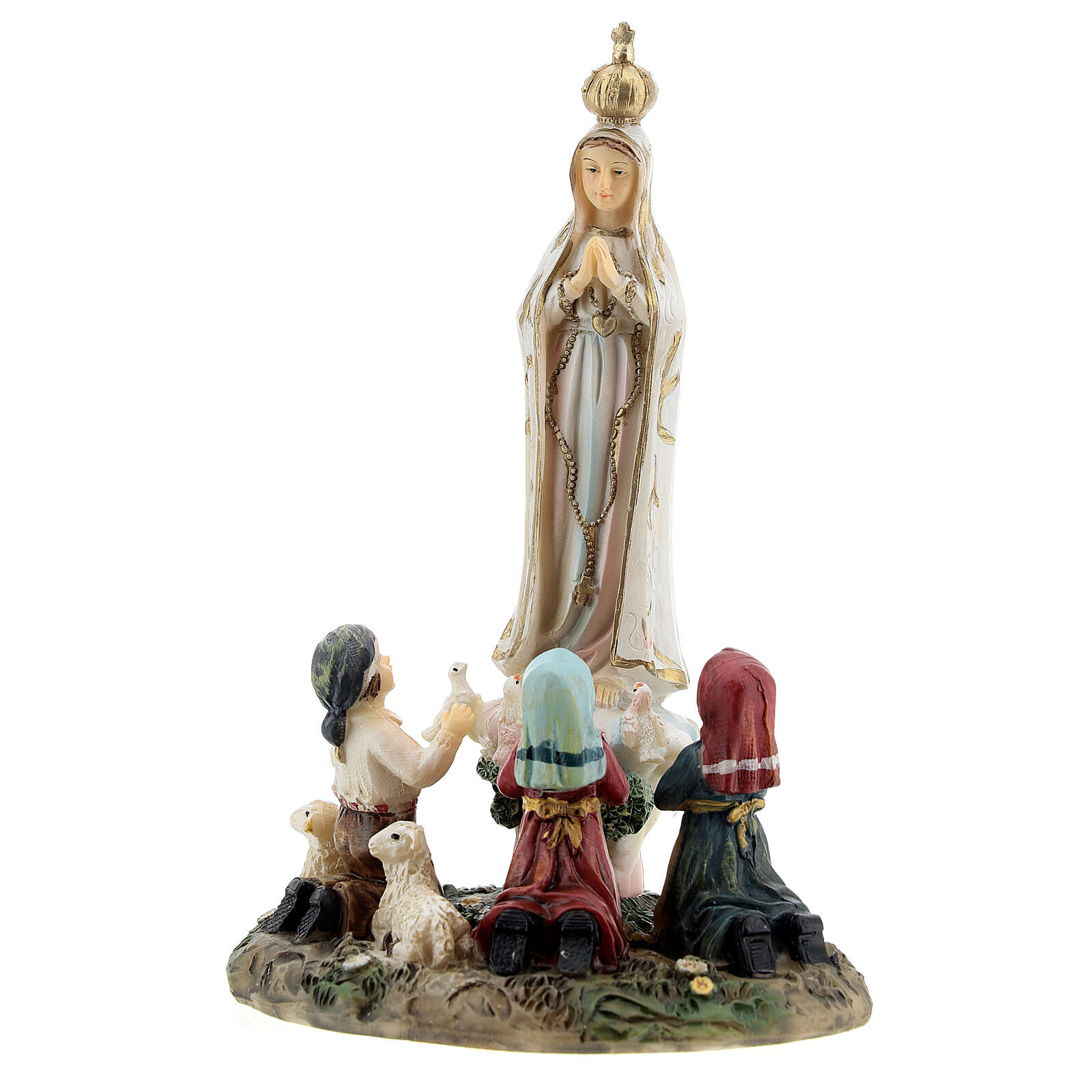 Our Lady of Fatima statue with children lamb in resin 14 cm 4