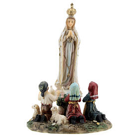 Our Lady of Fatima statue with children lamb in resin 14 cm s1
