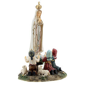 Our Lady of Fatima statue with children lamb in resin 14 cm s3