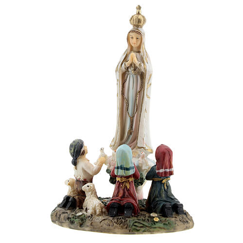 Our Lady of Fatima statue with children lamb in resin 14 cm 2