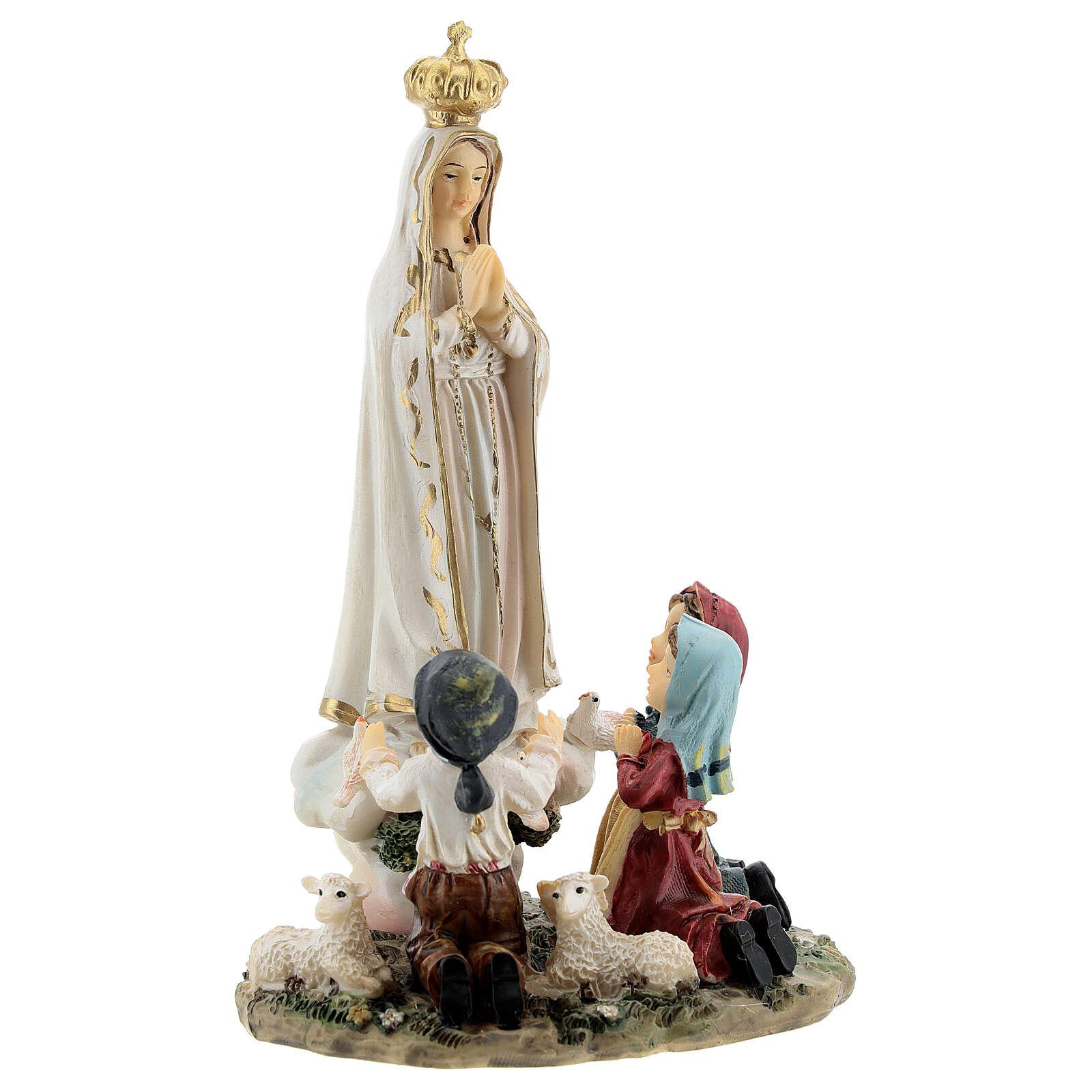 Estatua Virgen Fátima niños 16 cm resina pintada 4
