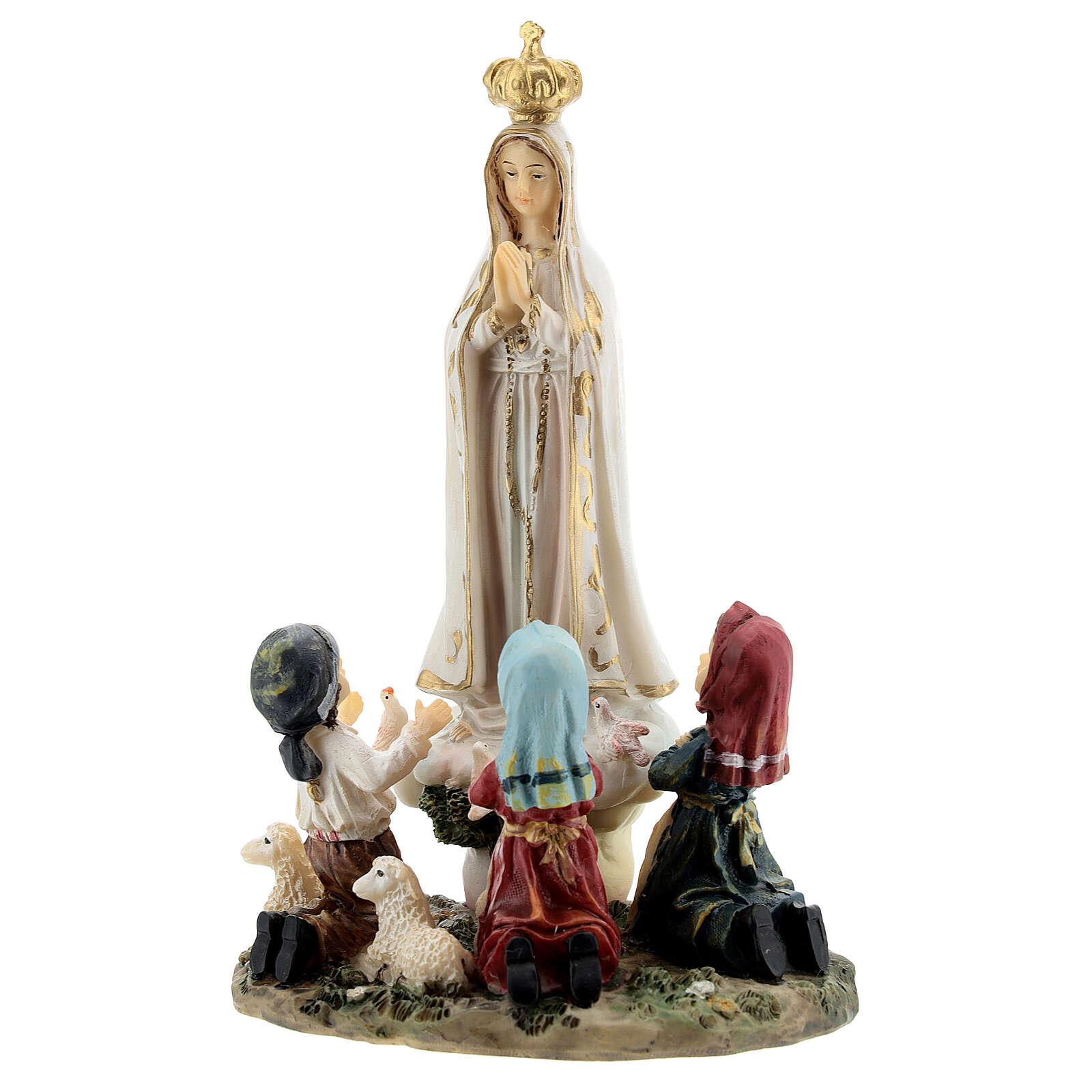Statua Madonna Fatima pargoli 16 cm resina dipinta 4