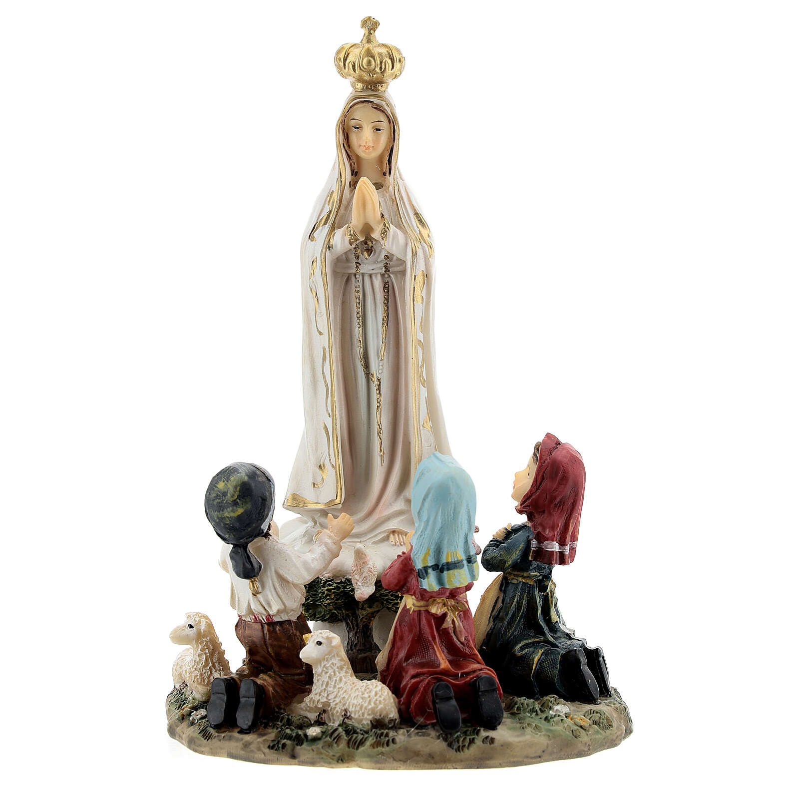 Fatima statue with little children 16 cm in painted resin 4