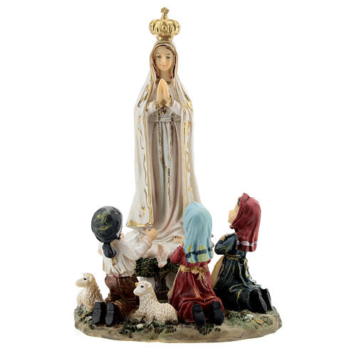 Fatima statue with little children 16 cm in painted resin 1
