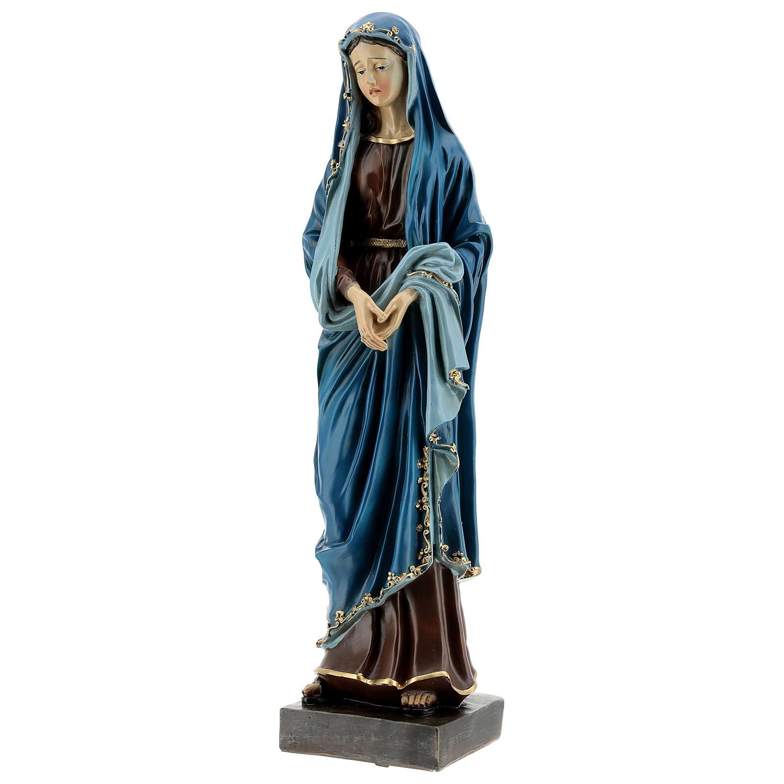 Estatua Virgen Dolorosa manos juntas resina 30 cm 4