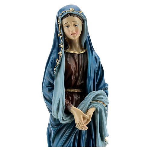 Estatua Virgen Dolorosa manos juntas resina 30 cm 2
