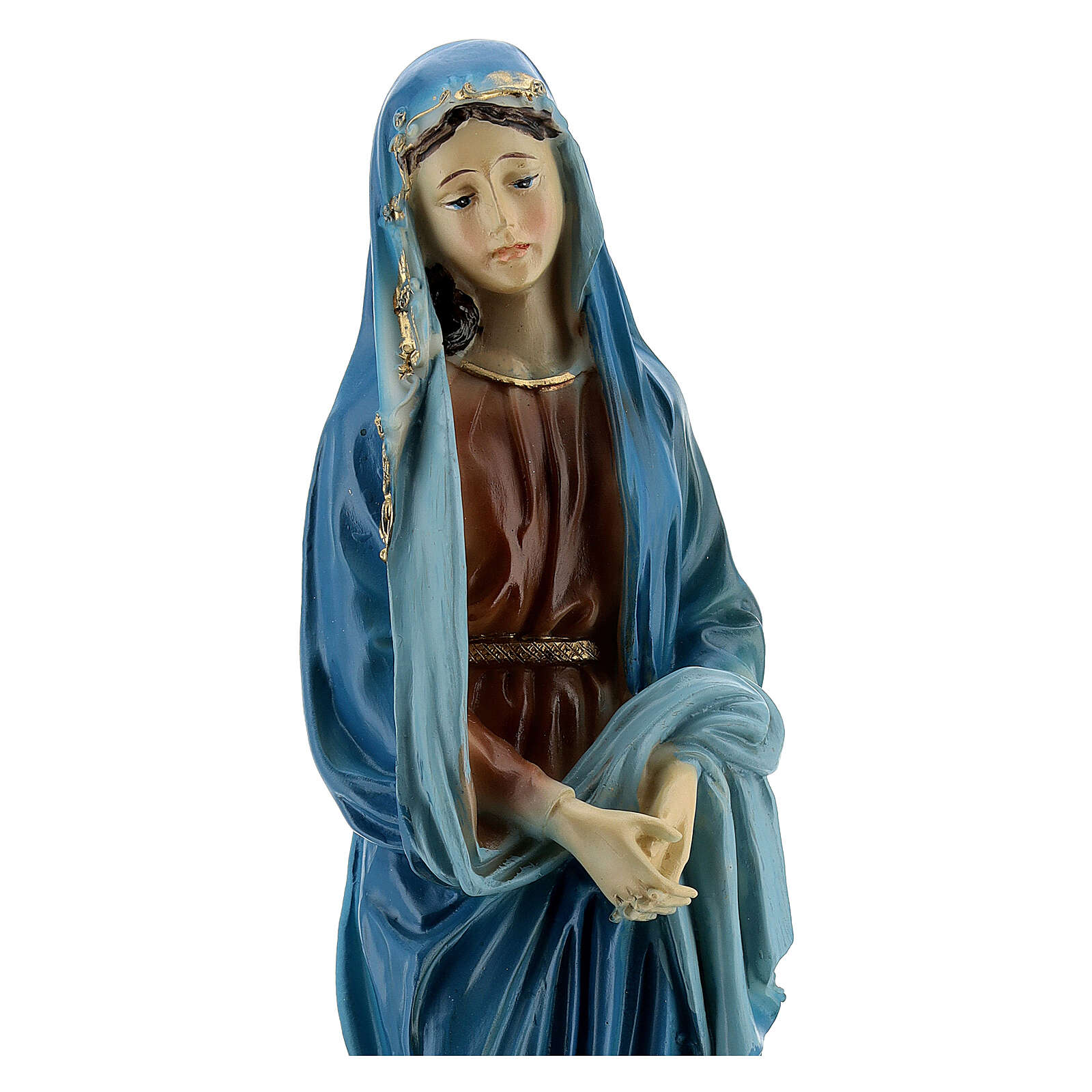 Our Lady of Sorrow golden details resin 20 cm 4