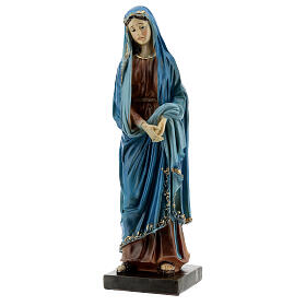 Our Lady of Sorrows statue with gold detailing resin 20 cm s3