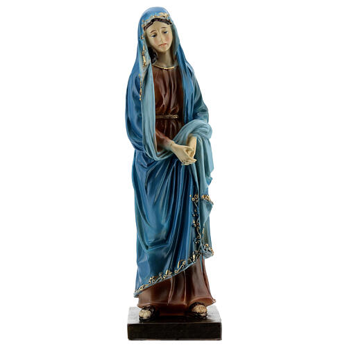 Our Lady of Sorrows statue with gold detailing resin 20 cm 1