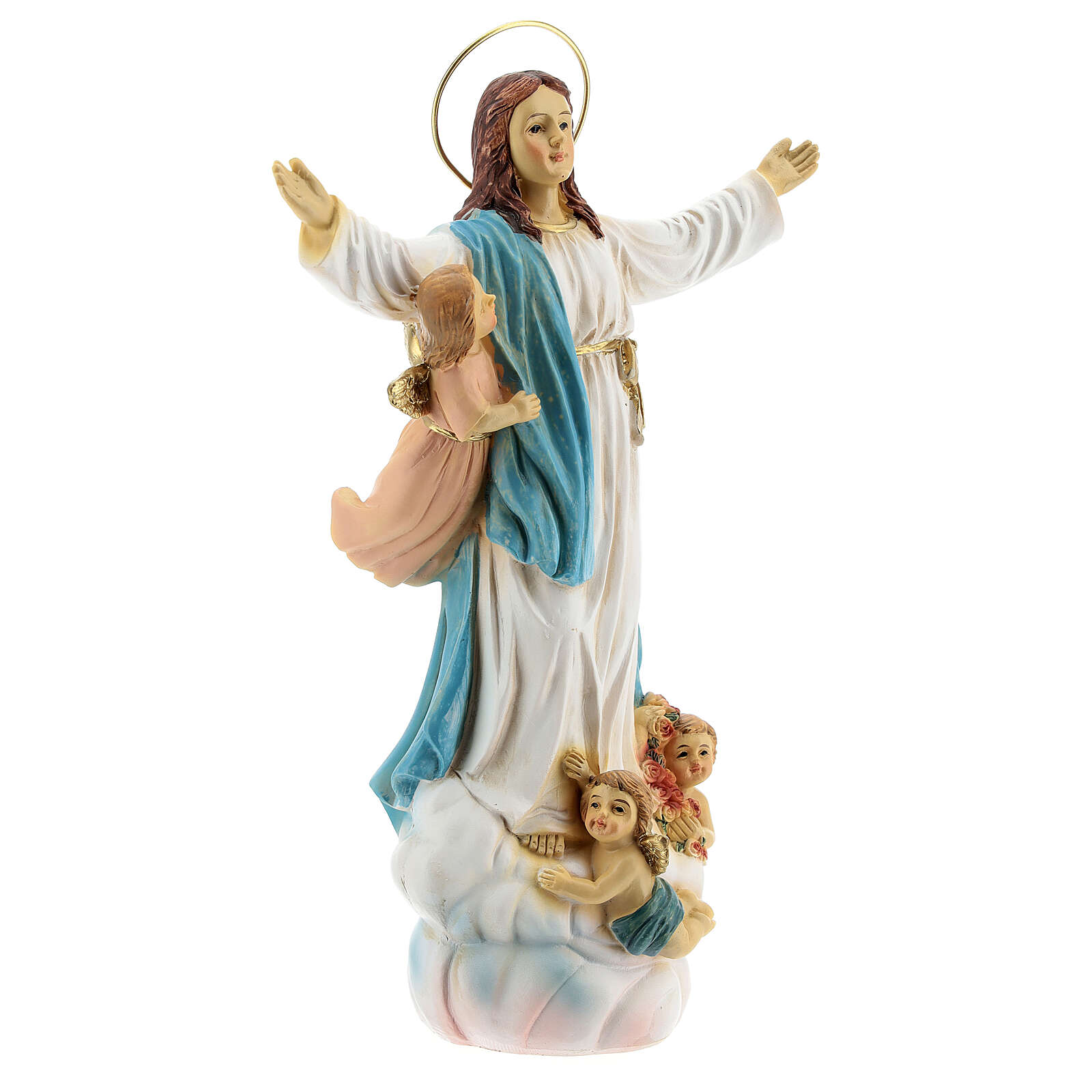 Assumption Mary angels statue resin 18x12x6 cm 4