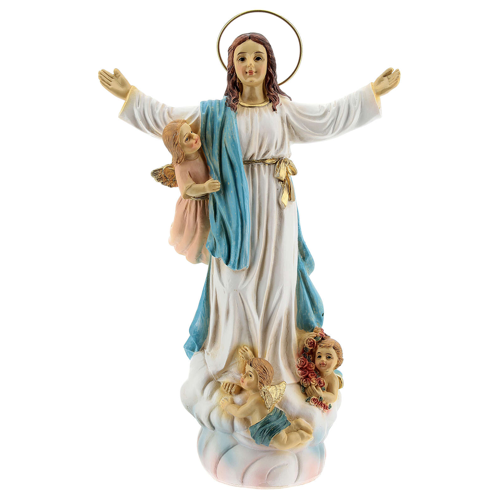 Assumption of Mary statue with angels in resin 18x12x6 cm 4