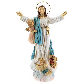Assumption of Mary statue with angels in resin 18x12x6 cm s1