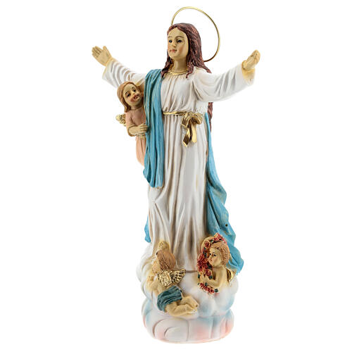 Assumption of Mary statue with angels in resin 18x12x6 cm 3
