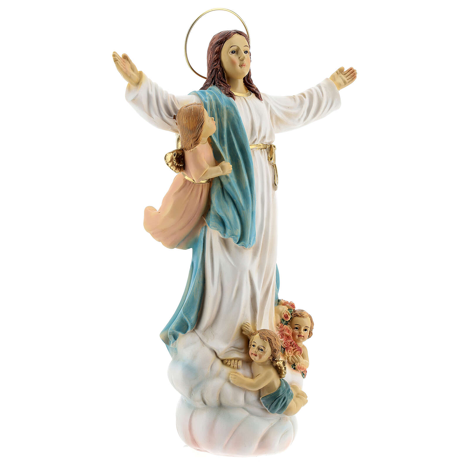 Statue of Our Lady of the Assumption angels resin 30 cm 4