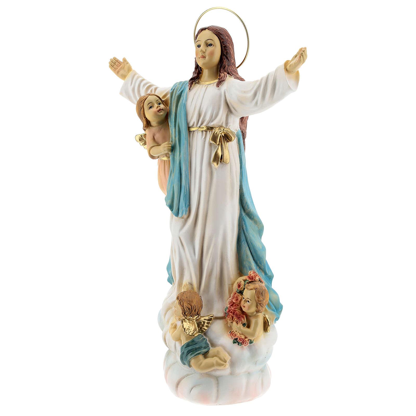 Estatua Virgen María ángeles resina 30 cm 4