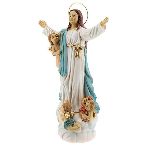 Statua Madonna Assunta angeli resina 30 cm 3