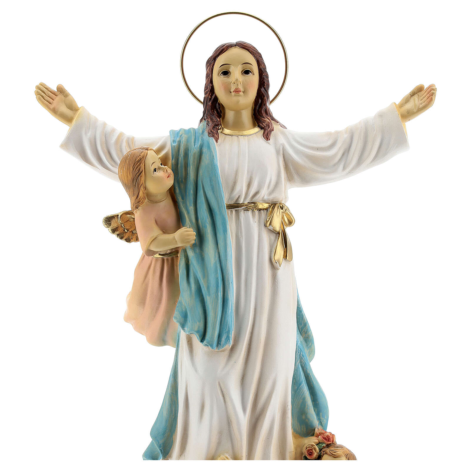 Our Lady of Assumption statue with angels, resin 30 cm 4