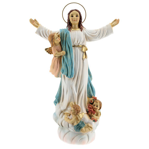 Our Lady of Assumption statue with angels, resin 30 cm 1