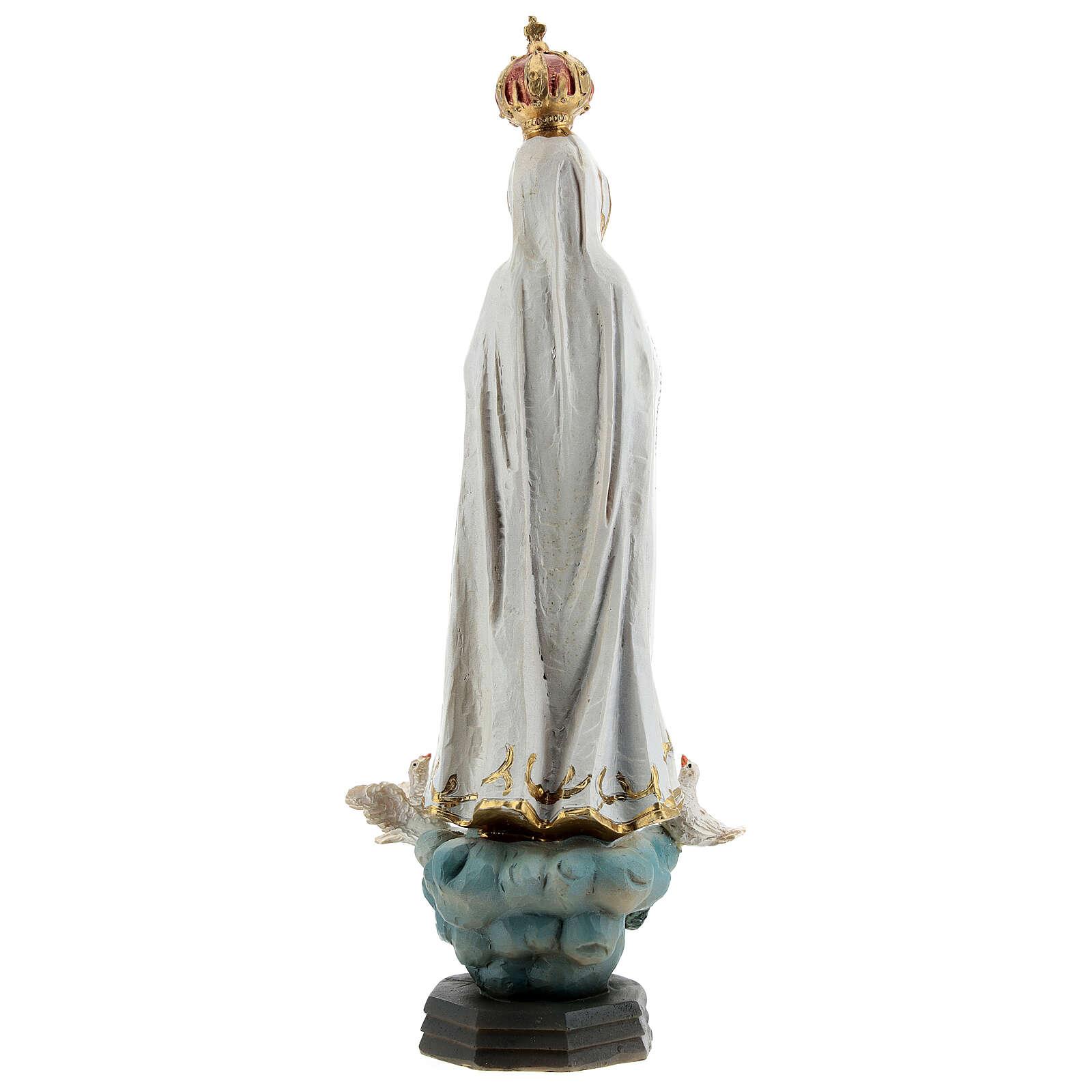 Statue Notre-Dame de Fatima colombes résine 20 cm 4