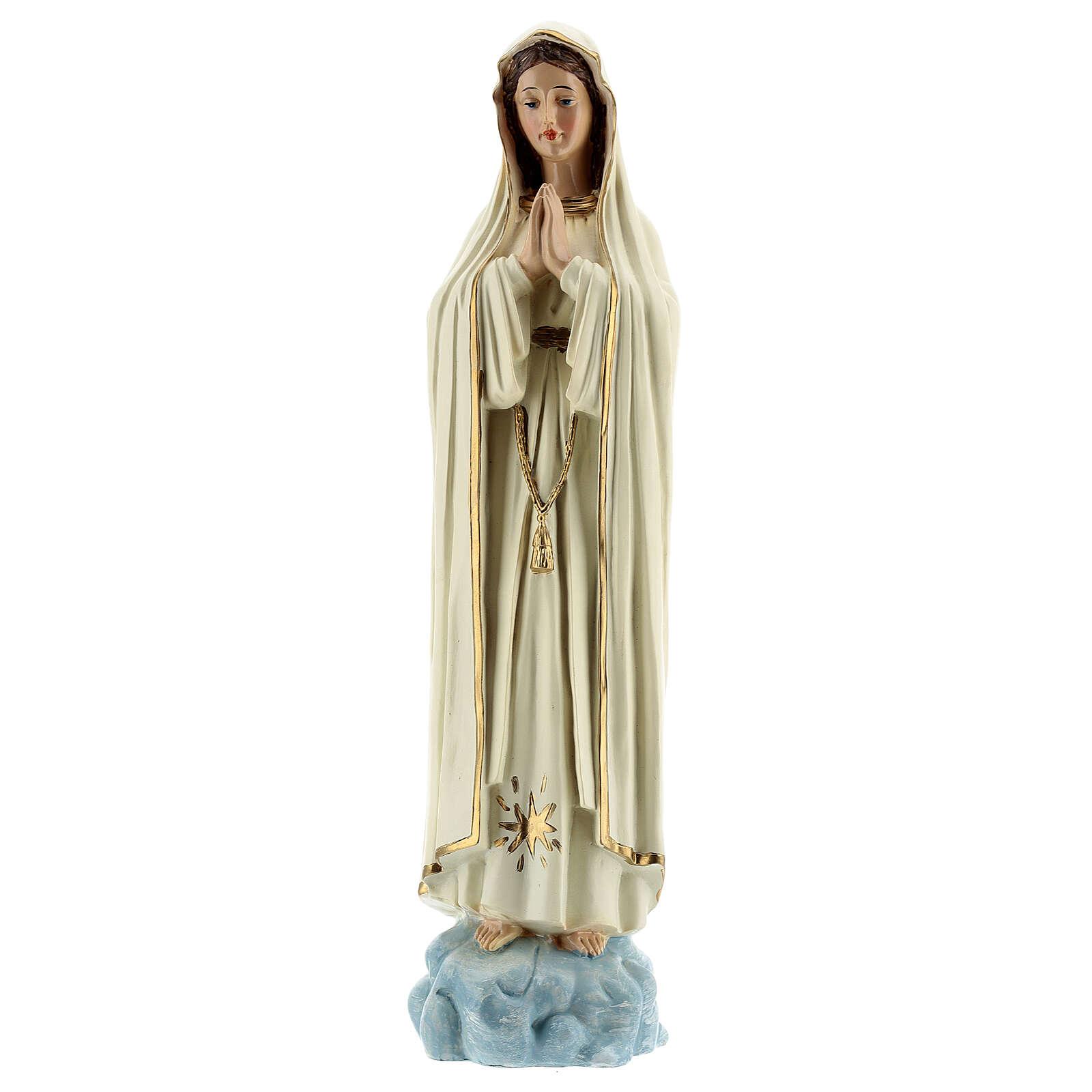 Estatua Virgen Fátima vestidos blancos sin corona resina 30 cm 4