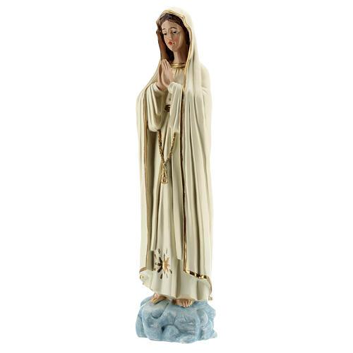 Estatua Virgen Fátima vestidos blancos sin corona resina 30 cm 3