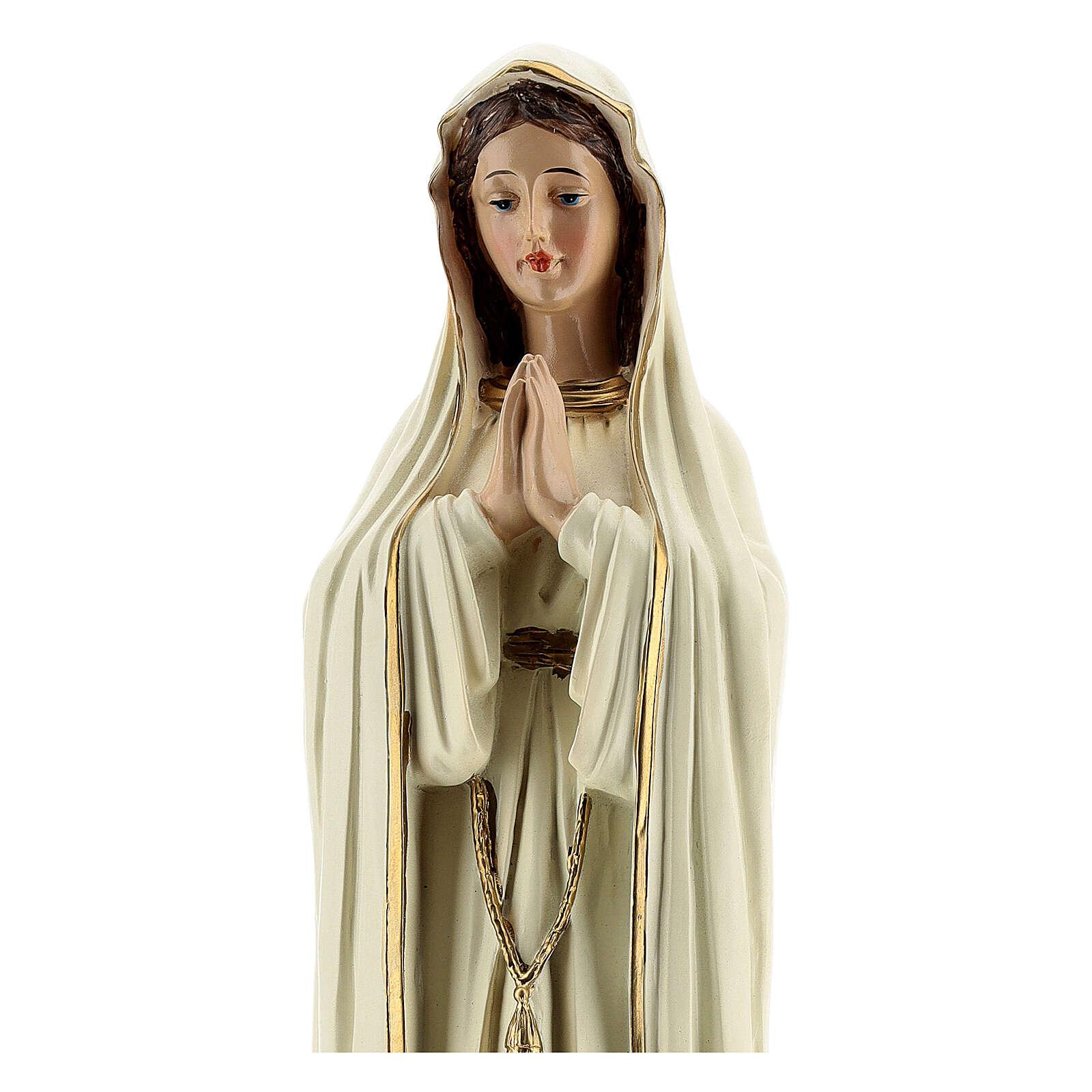 Statue Notre-Dame de Fatima robe blanche sans couronne résine 30 cm 4