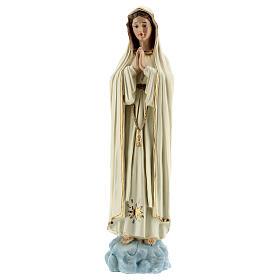 Statue Notre-Dame de Fatima robe blanche sans couronne résine 30 cm s1