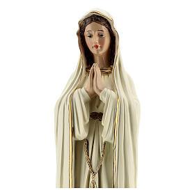 Statue Notre-Dame de Fatima robe blanche sans couronne résine 30 cm s2