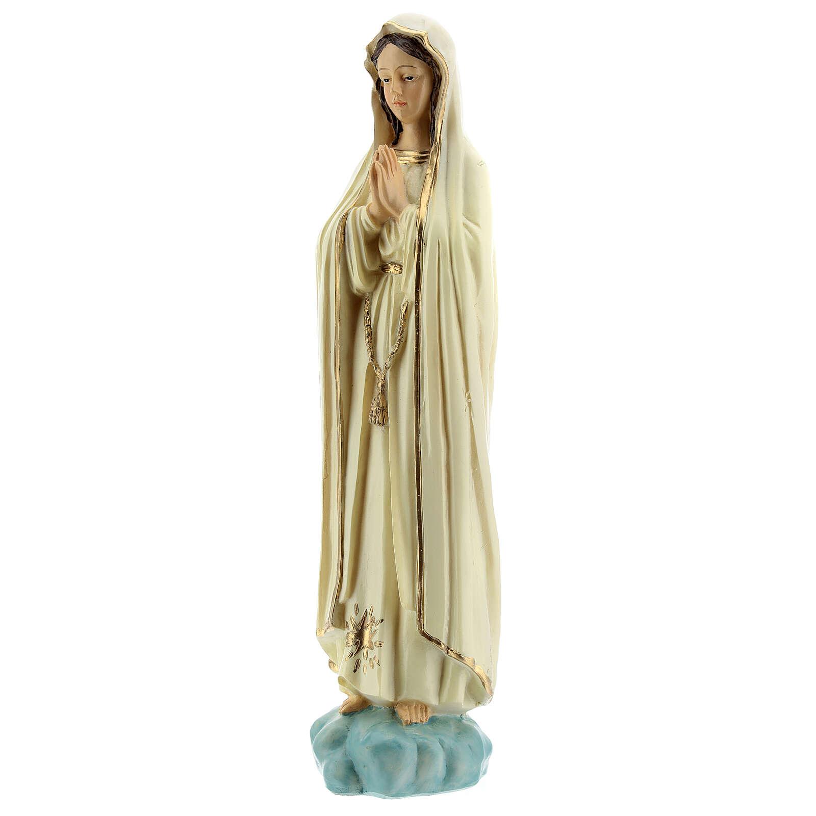 Virgen Fátima sin corona estrella dorada estatua resina 20 cm 4