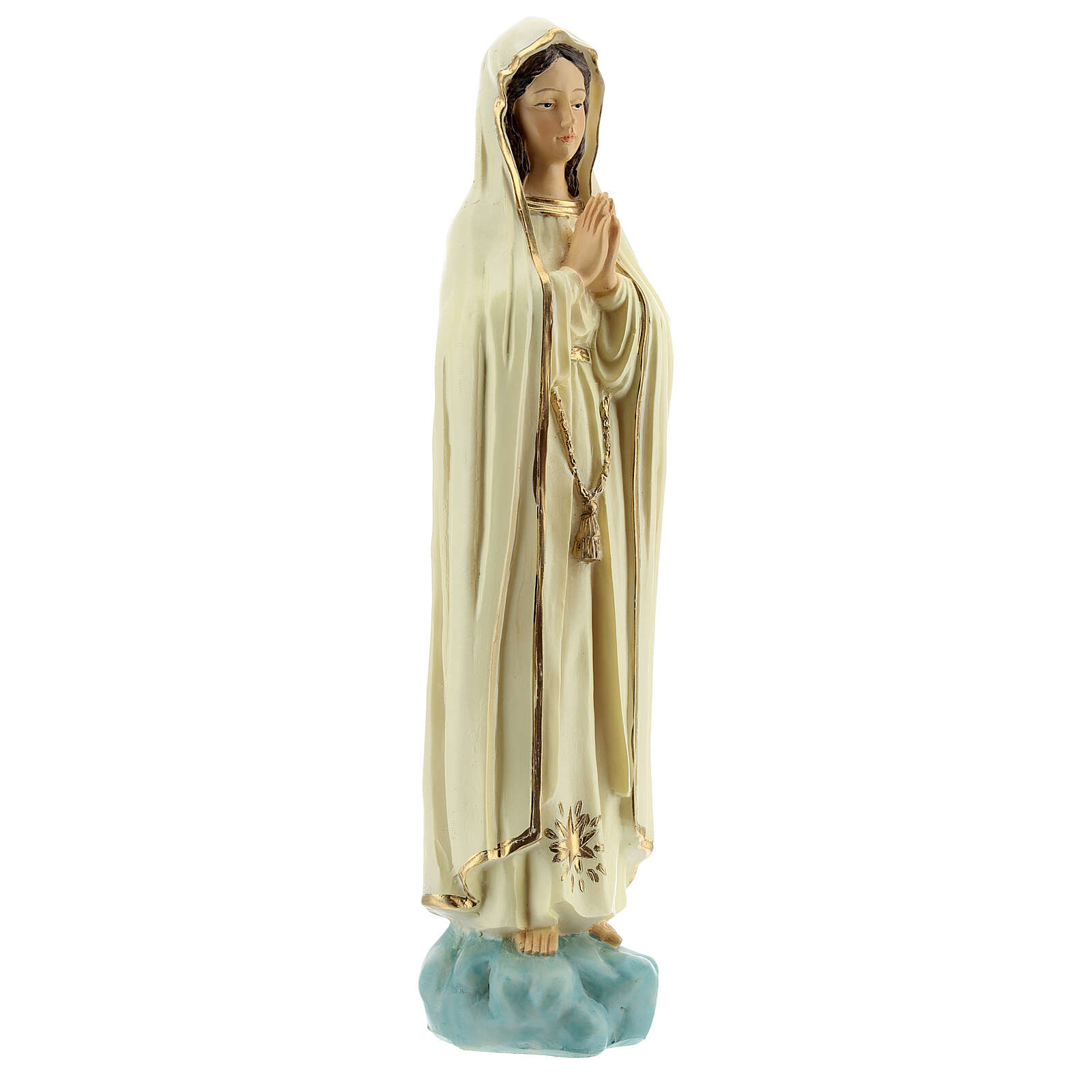 Our Lady of Fatima statue without crown golden star in resin 20 cm 4
