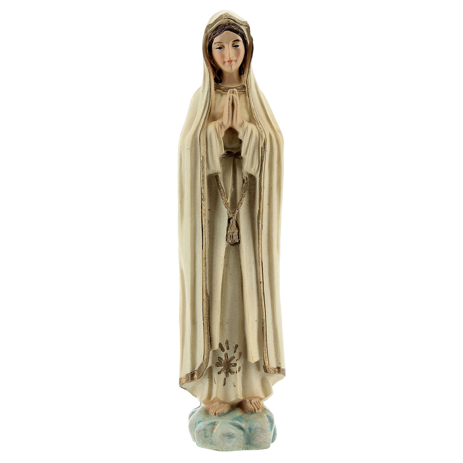 Notre-Dame de Fatima prière étoile or statue résine 12 cm 4