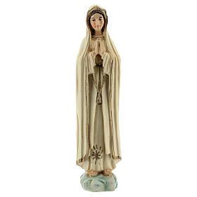 Madonna Fatima preghiera stella oro statua resina 12 cm s1
