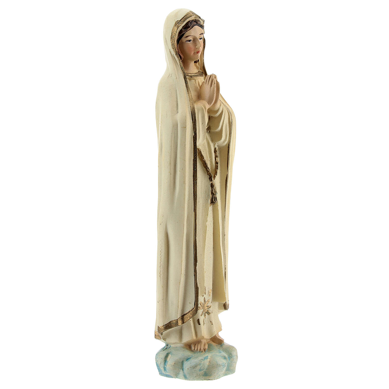 Lady of Fatima statue in prayer with gold star in resin 12 cm 4