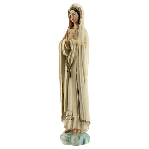 Lady of Fatima statue in prayer with gold star in resin 12 cm 2