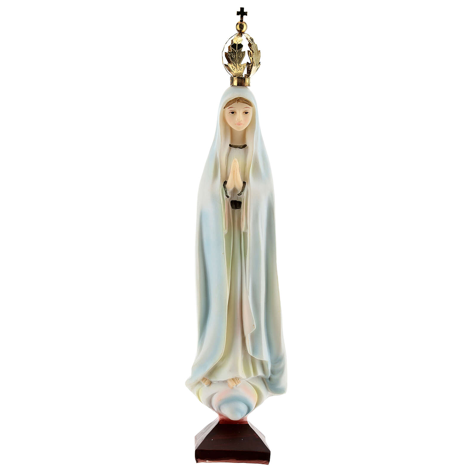 Virgen Fátima corona dorada estatua resina 20 cm 4