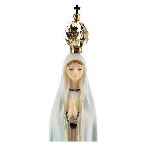Our Lady of Fatima statue with golden crown in resin 20 cm 2