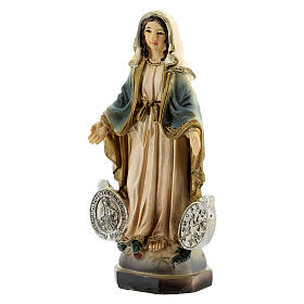 Our Lady of Miracles with medal resin statue 8 cm s2