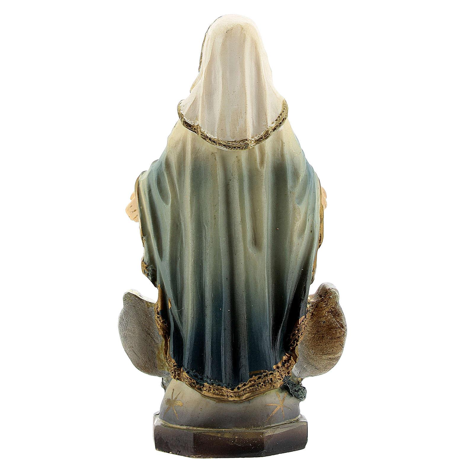Vierge Miraculeuse avec médaille statue résine 8 cm 4