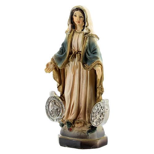 Vierge Miraculeuse avec médaille statue résine 8 cm 2
